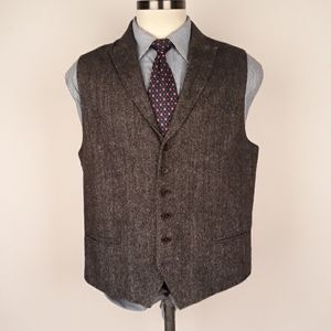 JOHN VARVATOS Tweed Herringbone Wool Mens L Vest